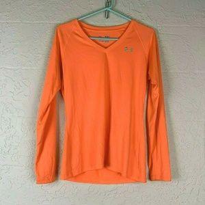 Under Armour Orange Shirt M Heat Gear Neon Orange
